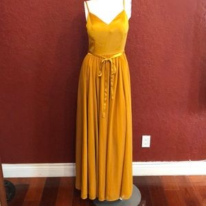 ModCloth It Meant To Be V-Neck Gold Maxi Dress